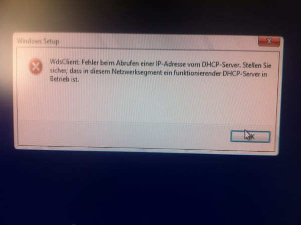 WDS Boot Fehler DHCP